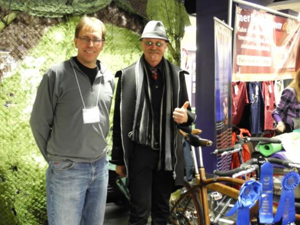 Gary Fisher, the father of the mountain bike, endorsed my wooden framed bicycles at the Adventure Submit Expo